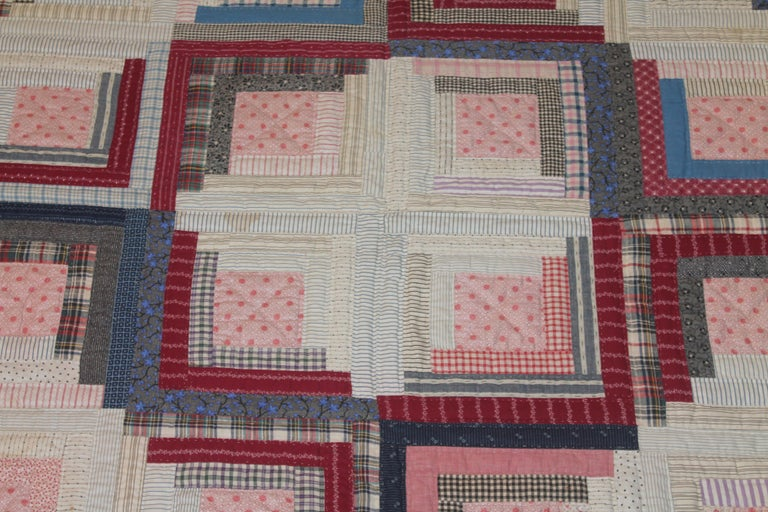 American 19thc Antique Quilt Cotton Log Cabin  For Sale