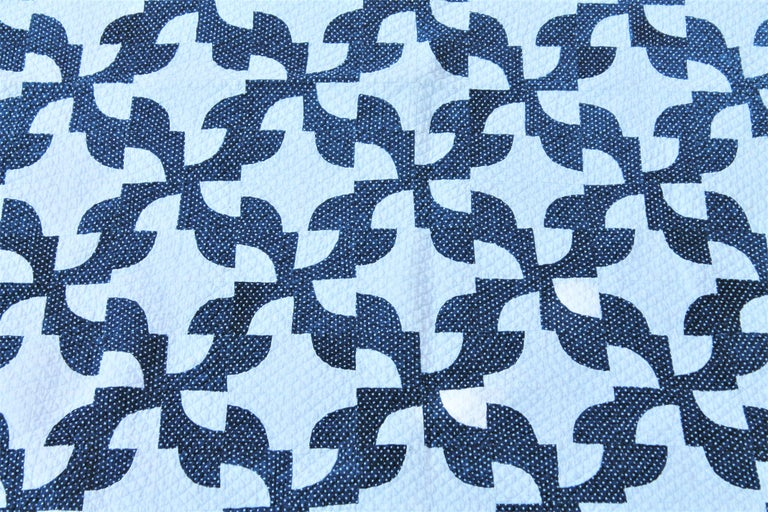 This drunkers path quilt is from circa 1870 and has a fantastic zig zag border. The condition is very good with a light over fade but great quilting and condition.