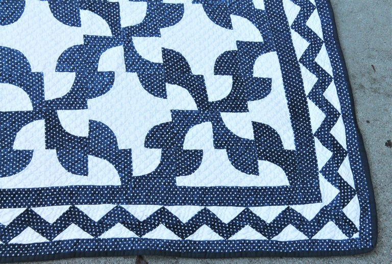 Country 19th Century Antique Quilt in Indigo Blue and White For Sale
