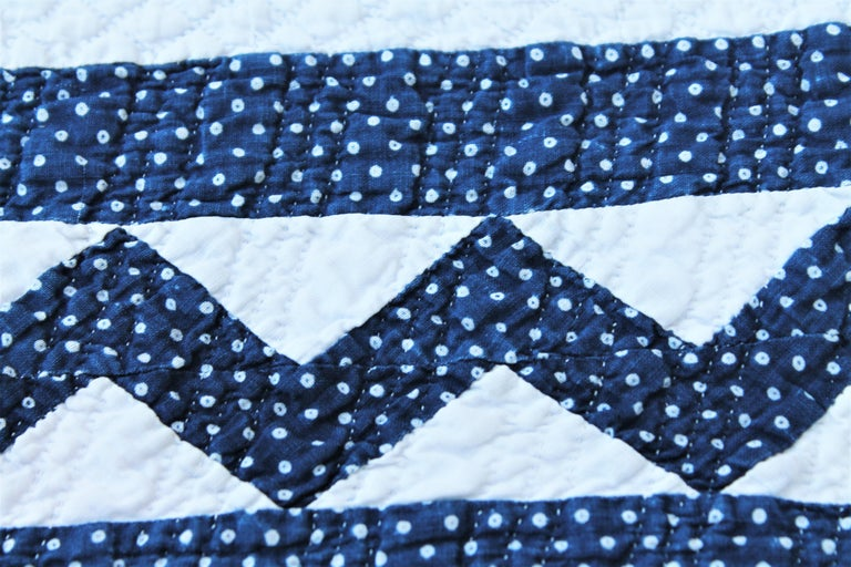 Cotton 19th Century Antique Quilt in Indigo Blue and White For Sale
