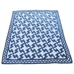 19th Century Antique Quilt in Indigo Blue and White