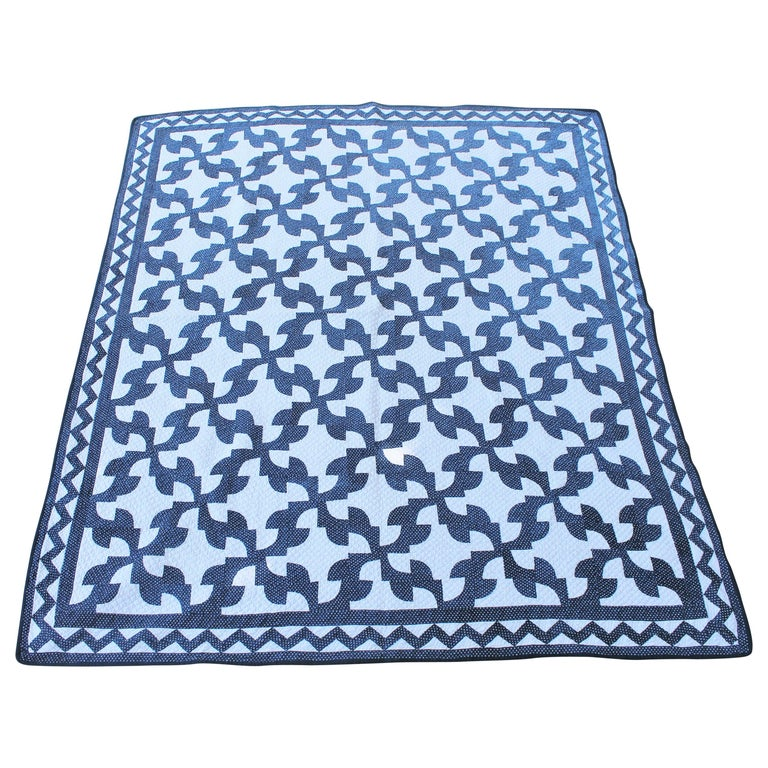 19th Century Antique Quilt in Indigo Blue and White For Sale