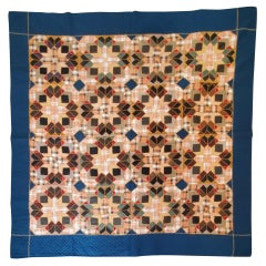 19thc Antique Quilt Mennonite Wool Stars with Embroidery