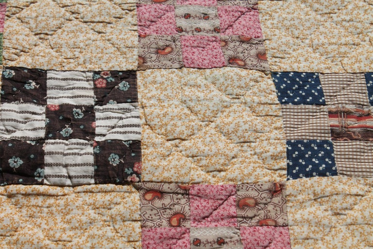 19th Century Antique Quilt, Postage Stamp Nine Patch Chain For Sale 3