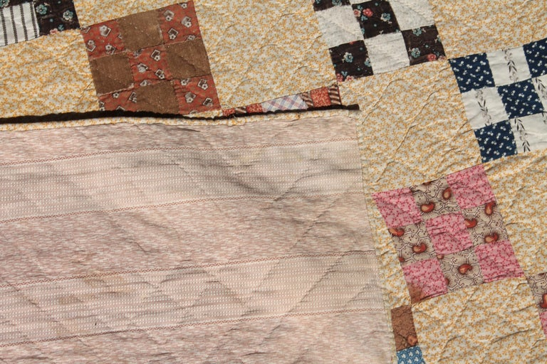 Country 19th Century Antique Quilt, Postage Stamp Nine Patch Chain For Sale
