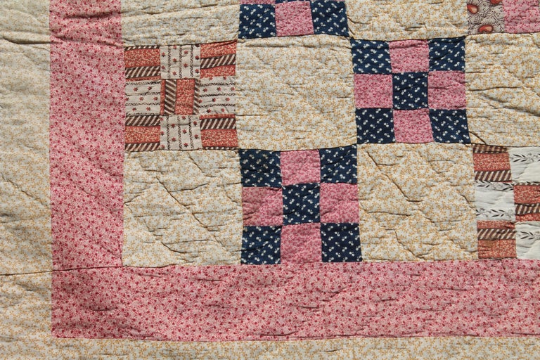 Cotton 19th Century Antique Quilt, Postage Stamp Nine Patch Chain For Sale