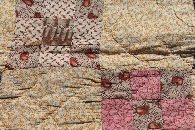 19th Century Antique Quilt, Postage Stamp Nine Patch Chain For Sale 2