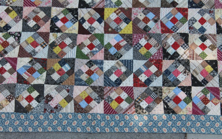 Country 19th Century Antique Quilt, Postage Stamp Nine Patch For Sale