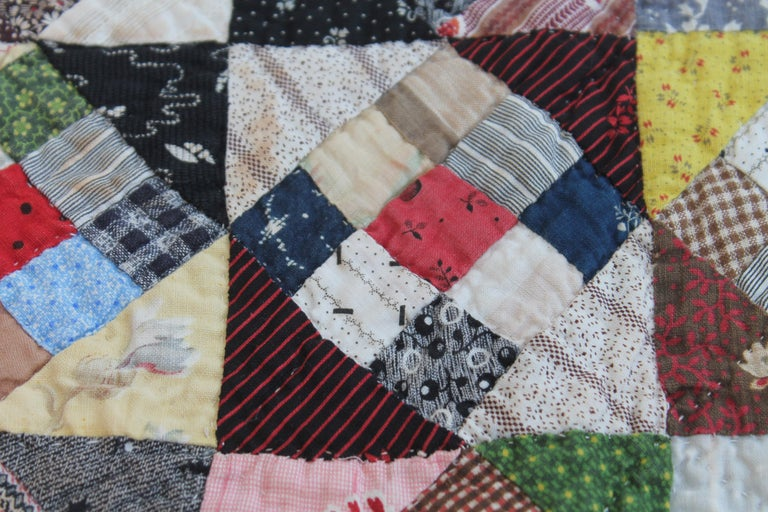 American 19th Century Antique Quilt, Postage Stamp Nine Patch For Sale