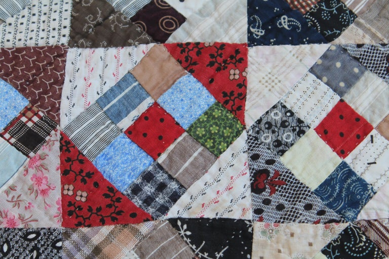 Hand-Crafted 19th Century Antique Quilt, Postage Stamp Nine Patch For Sale