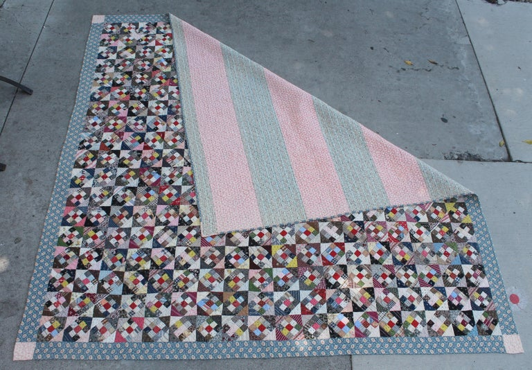 Cotton 19th Century Antique Quilt, Postage Stamp Nine Patch For Sale