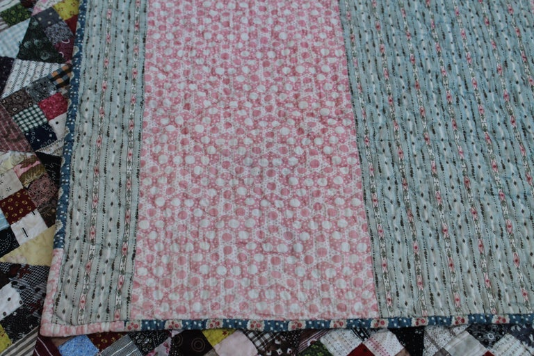 19th Century Antique Quilt, Postage Stamp Nine Patch For Sale 1