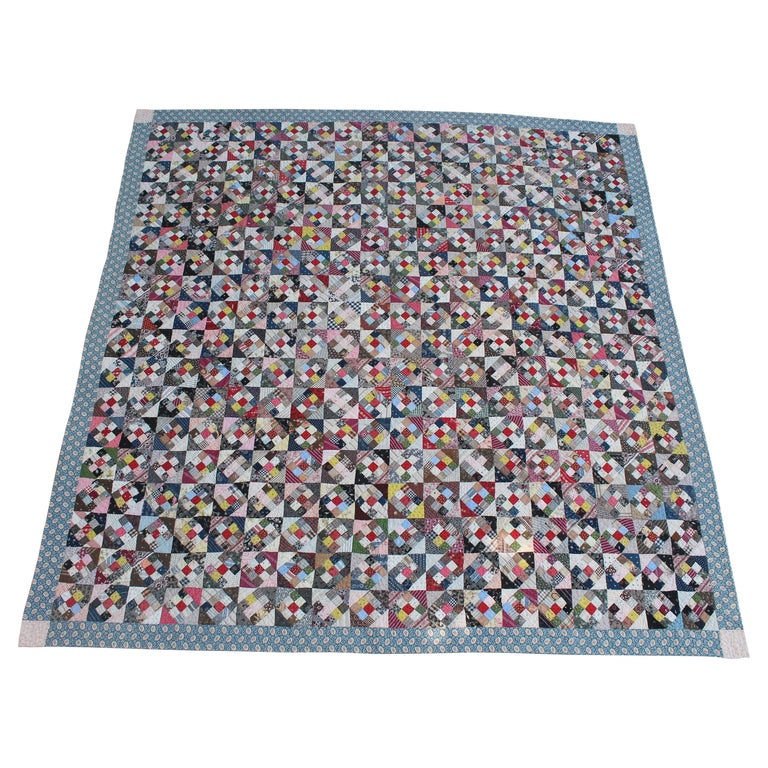 19th Century Antique Quilt, Postage Stamp Nine Patch For Sale
