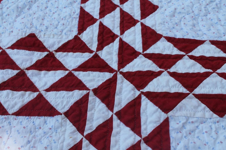 Adirondack 19th Century Antique Quilt, Red and White Ocean Waves Quilt For Sale