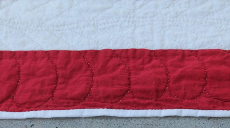 American 19th Century Antique Quilt, Red and White Ocean Waves Quilt For Sale