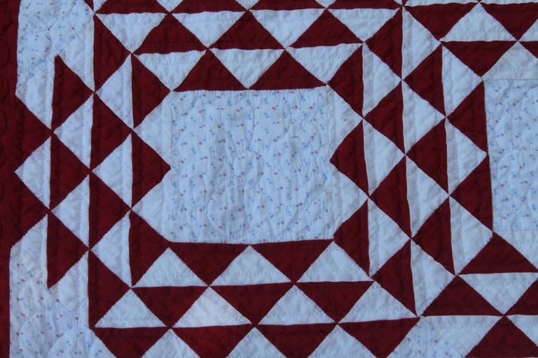 Hand-Crafted 19th Century Antique Quilt, Red and White Ocean Waves Quilt For Sale