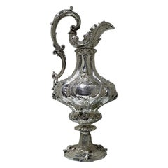 19th Century Victorian Large Sterling Silver Wine Ewer London 1857 E&J Barnard