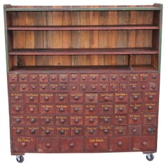 19th Century Apothecary Cabinet in Original Painted Surface, 86 Drawers