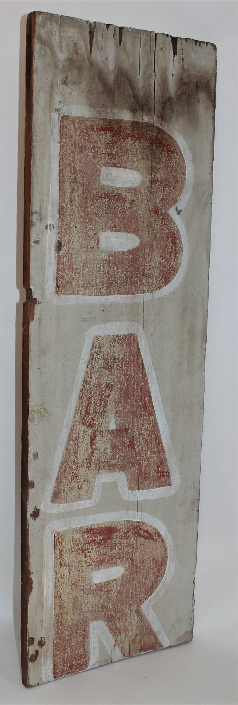19th Century Bar Trade Sign in Original Paint In Distressed Condition For Sale In Los Angeles, CA