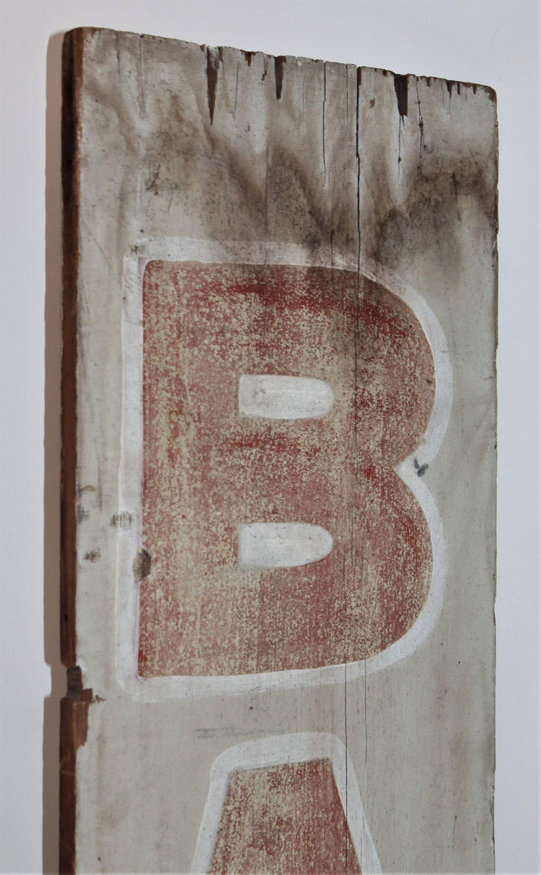 Wood 19th Century Bar Trade Sign in Original Paint For Sale