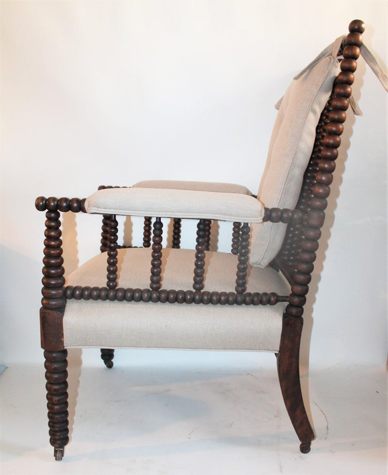 Country 19th Century Barley Twist Spool Chair in Natural Linen For Sale