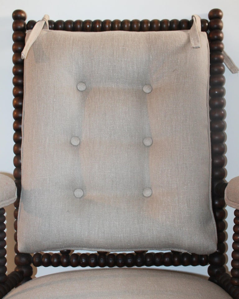 American 19th Century Barley Twist Spool Chair in Natural Linen For Sale