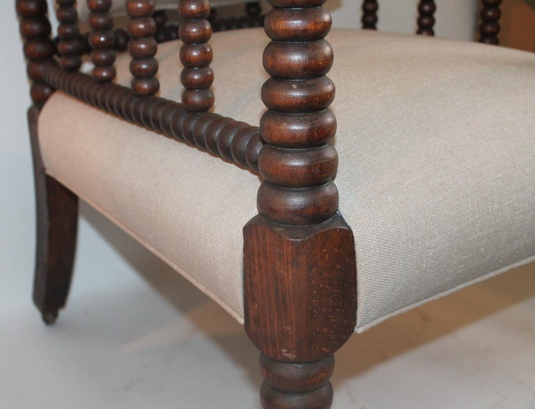Hand-Crafted 19th Century Barley Twist Spool Chair in Natural Linen For Sale