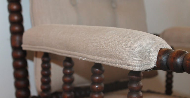 19th Century Barley Twist Spool Chair in Natural Linen In Good Condition For Sale In Los Angeles, CA