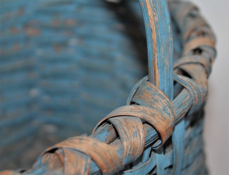 Country 19th Century Basket Original Robin Egg Blue Painted Basket For Sale