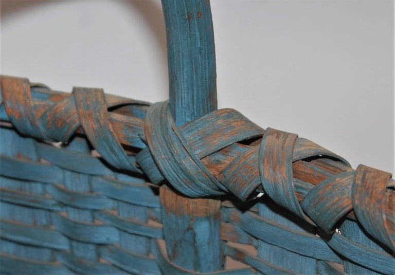 American 19th Century Basket Original Robin Egg Blue Painted Basket For Sale