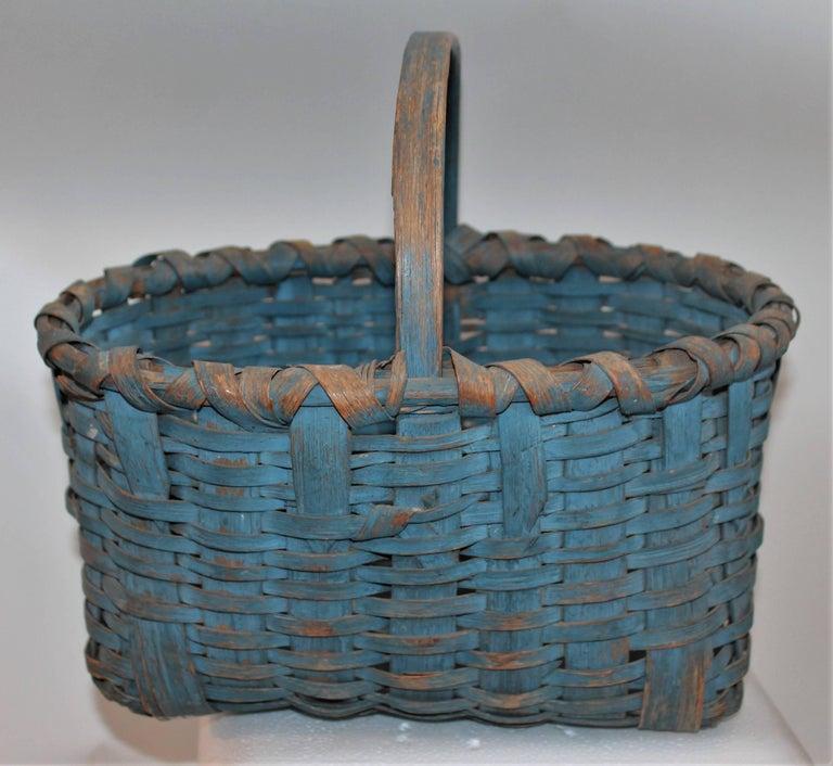 Hand-Crafted 19th Century Basket Original Robin Egg Blue Painted Basket For Sale