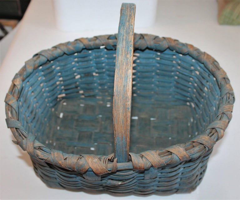 19th Century Basket Original Robin Egg Blue Painted Basket In Good Condition For Sale In Los Angeles, CA