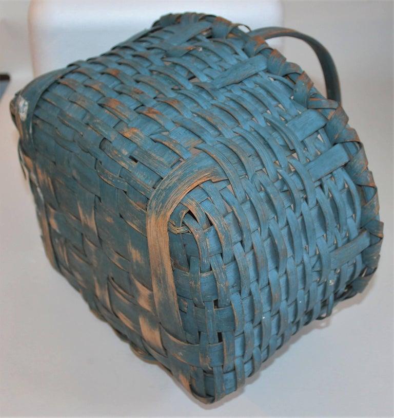 Wicker 19th Century Basket Original Robin Egg Blue Painted Basket For Sale