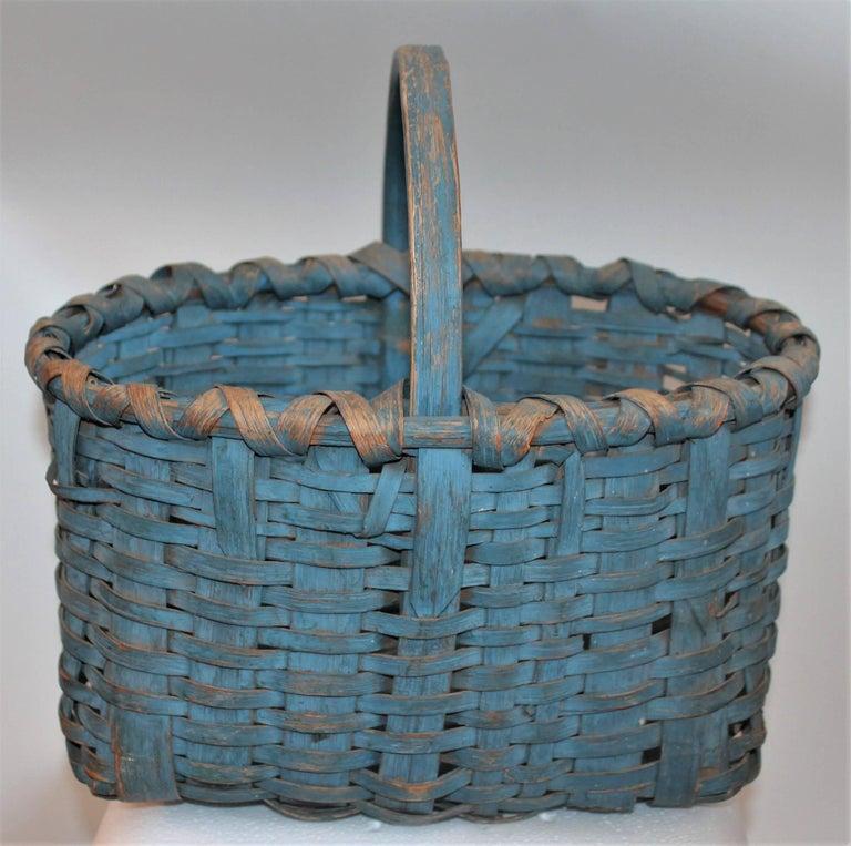 19th Century Basket Original Robin Egg Blue Painted Basket For Sale 1