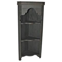 19th Century Black Painted Mini Corner Cupboard