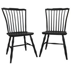 19th Century Pair of Black Painted Windsor Chairs