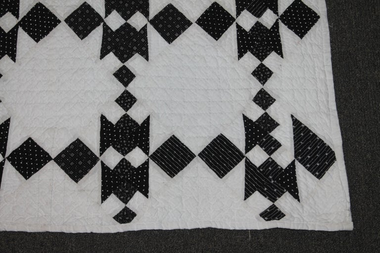 19th Century Black and White Geometric Quilt For Sale 3