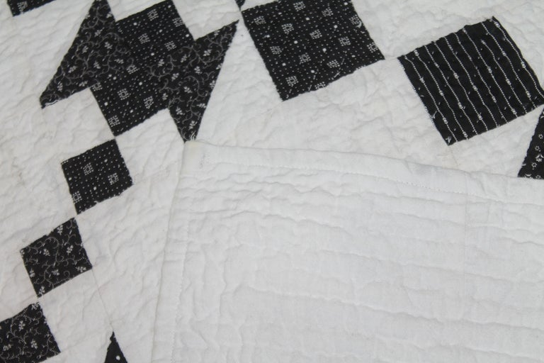 Adirondack 19th Century Black and White Geometric Quilt For Sale