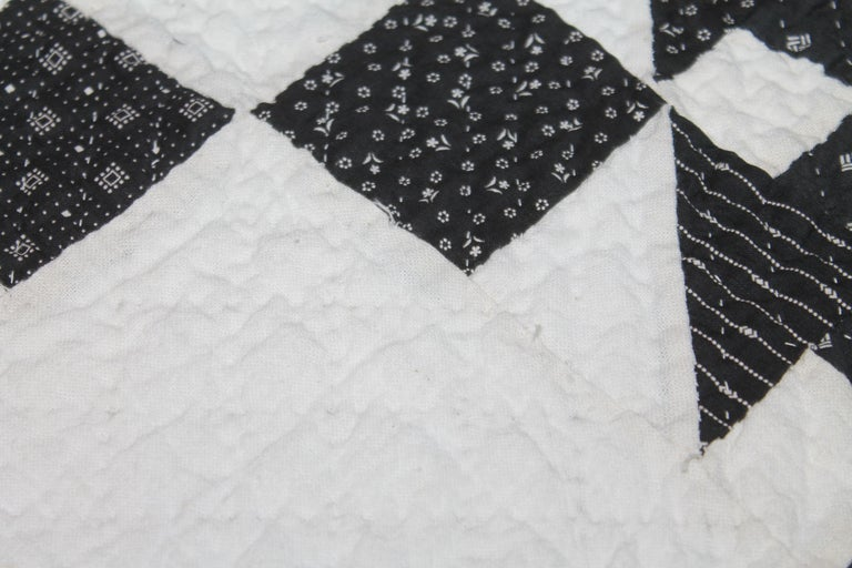 Hand-Crafted 19th Century Black and White Geometric Quilt For Sale