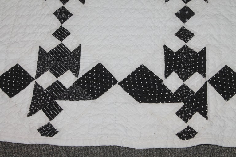 Cotton 19th Century Black and White Geometric Quilt For Sale