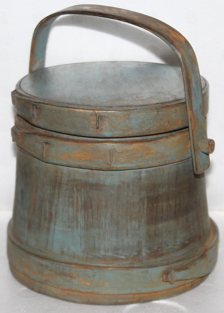 This 19thc blue painted furkin or sugar bucket is such a cute small scale size and great later blue painted surface.