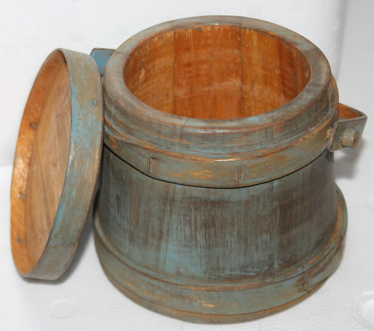 Hand-Crafted 19thc Blue Painted Miniature Furkin For Sale