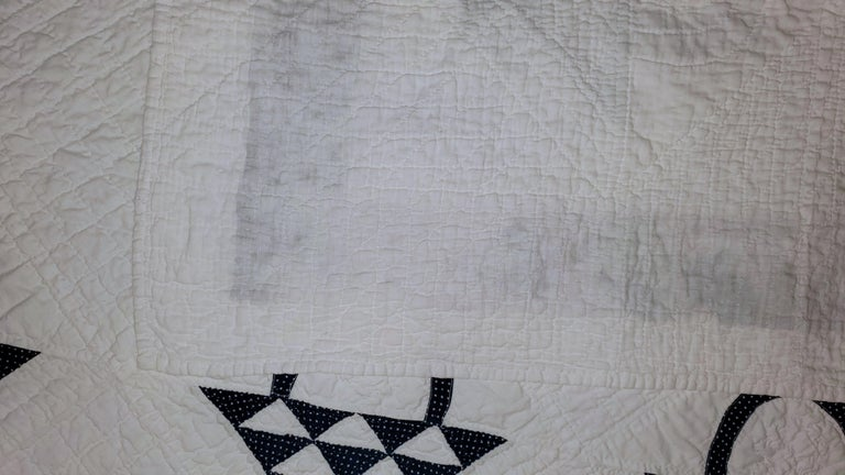 19th Century Blue and White Baskets Quilt For Sale 1