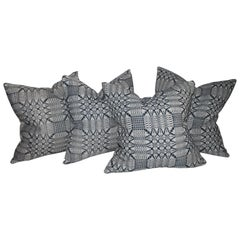 19thc Blue & White Coverlet Pillows, Collection of Four
