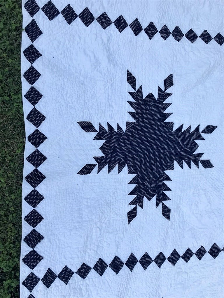 Country 19th Century Blue and White Feathered Star Quilt