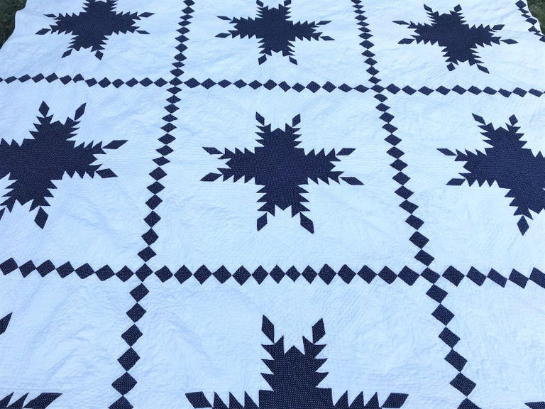 American 19th Century Blue and White Feathered Star Quilt