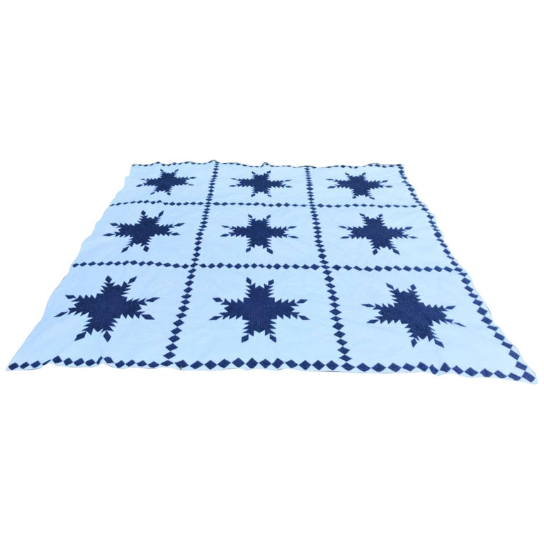 19th Century Blue and White Feathered Star Quilt