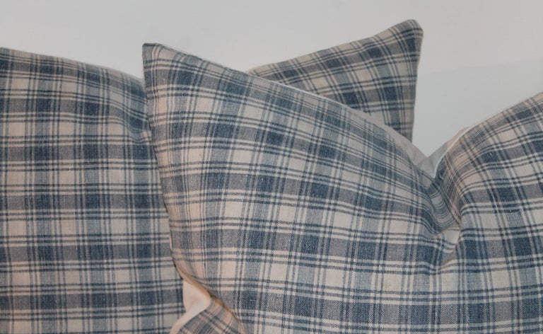 American 19th Century Blue and White Linen Pillows, Pair For Sale
