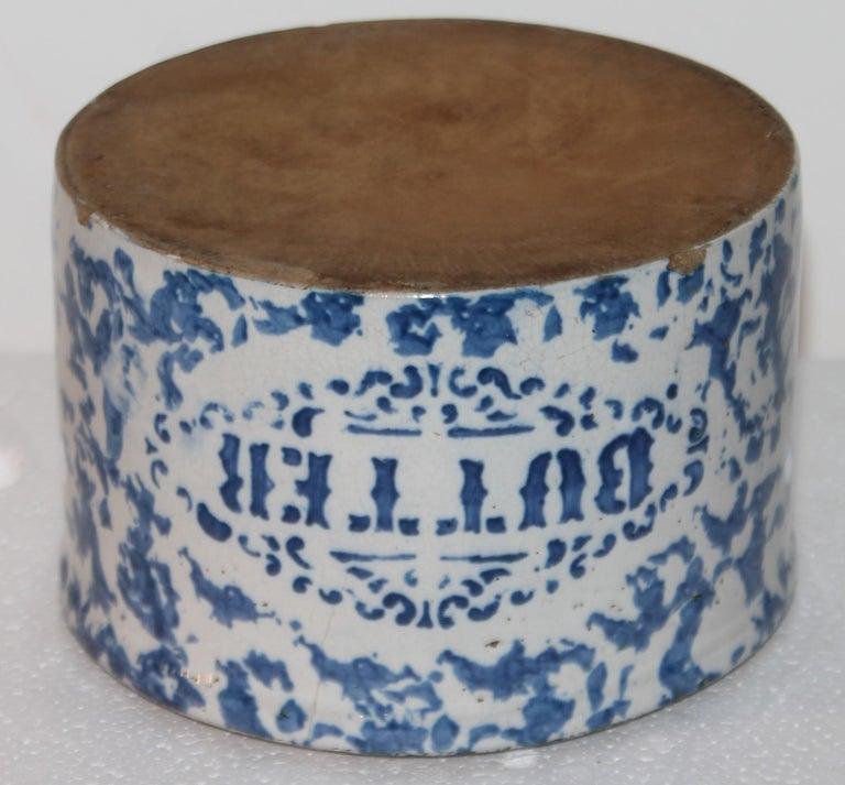 19Thc Blue & White Sponge Ware Pottery Butter Crocks, 4 For Sale 3