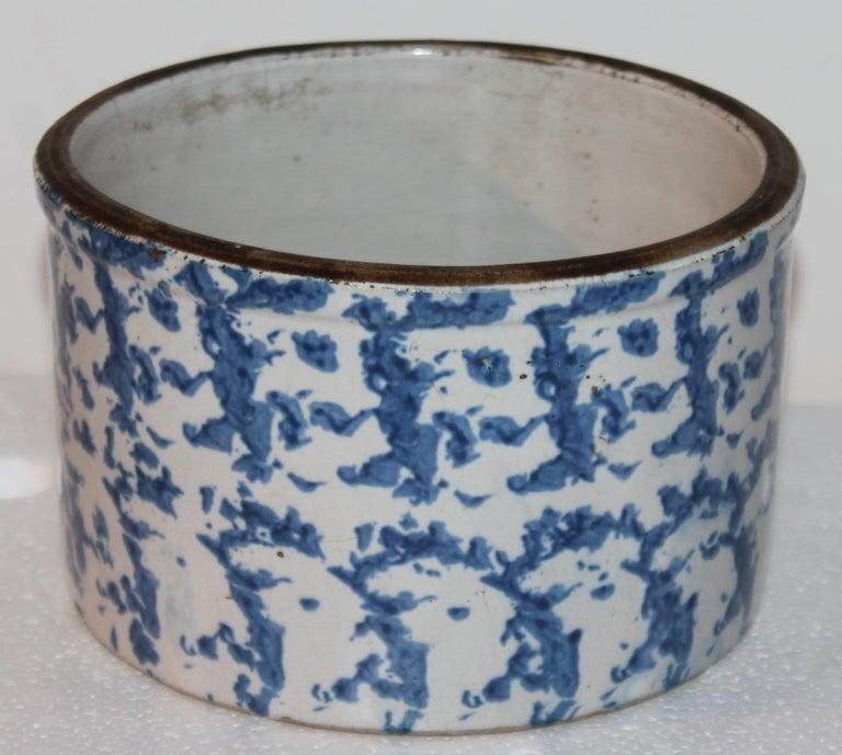 19Thc Blue & White Sponge Ware Pottery Butter Crocks, 4 For Sale 4